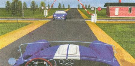 Независимо от положения шлагбаума вы должны остановиться перед ним, поскольку красный сигнал светофора запрещает...