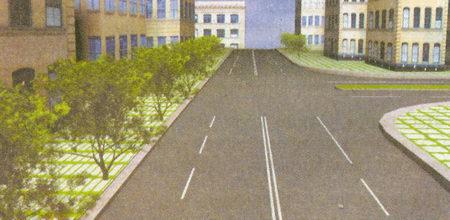 Дорога имеет четыре полосы для движения, так как каждая из проезжих частей разделена разметкой на две полосы