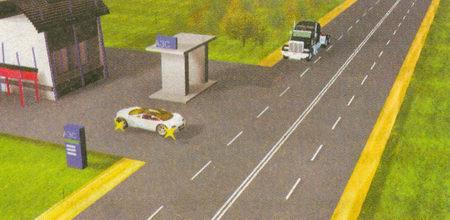 Водитель грузового автомобиля имеет преимущество по отношению к водителю легкового автомобиля, выезжающего с прилегающей территории, в данном случае — с АЗС (см. п. 8.3)