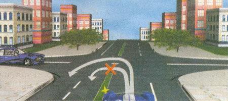 Выполняя разворот на этом перекрестке, вам придется использовать для движения участок проезжей части, имеющий двустороннее движение. Поэтому, въезжая на перекресток, вы мажете продолжить движение только по правой стороне этого участка проезжей части