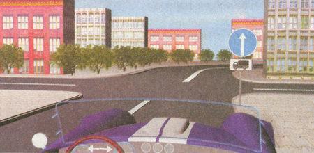 Табличка 8.4.1 «Вид транспортного средства» с изображением грузового автомобиля распространяет действие предписывающего знака 4.1.1 «Движение прямо»...