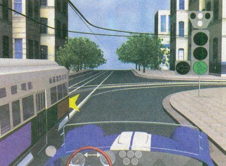 Включенный указатель поворота трамвая информирует о том, что пути движения вашего автомобиля и трамвая пересекаются на перекрестке...