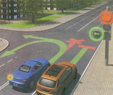 Сигналы светофора» выполненные в виде стрелок красного, желтого и зеленого цветов, имеют то же значение...