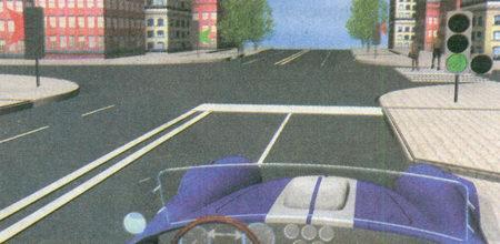 В данном случае черные контурные стрелки «прямо» и «налево», нанесенные на зеленый сигнал светофора...