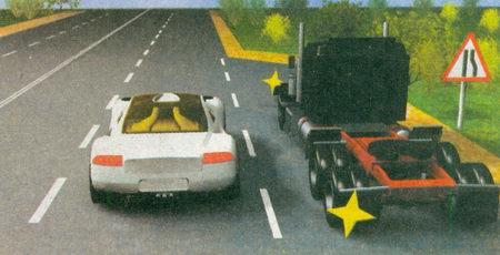 Поскольку впереди сужение дороги, о чем предупреждает знак 1.20.2 «Сужение дороги»...