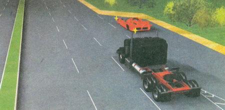 В данном случае в месте въезда на дорогу имеется полоса разгона. Водитель легкового автомобиля...