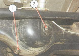 1- пробка сливного отверстия, 2 - пробка наливного отверстия