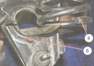 а - нижнего витка пружины, б - начало винтовой поверхности на рычаге