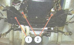 1 - поперечина подвески, 2 - подушки передних опор двигателя