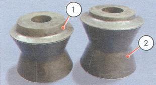 1 - резиновая втулка верхней продольной штанги, 2 - резиновая втулка нижней продольной и поперечной штанг