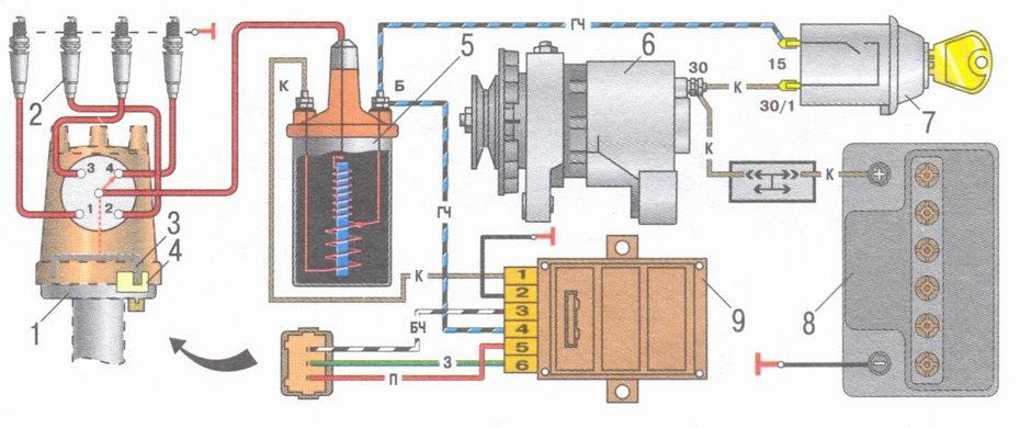 Схема безконтактного зажигания ваз 2109.