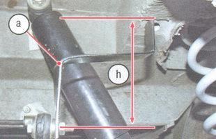 а - шаблон, h - расстояние между концом рычага и горизонтальной площадкой лонжерона