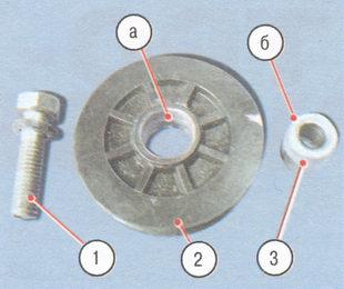 1 - болт с пружинной шайбой; 2 - ролик; 3 - втулка