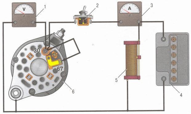 Схема соединений генератора ВАЗ 2106 для проверки на стенде: 1 - вольтметр; 2 - выключатель; 3 - амперметр; 4.
