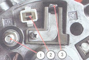 1 - вывод «30»; 2 - штекер центрального вывода обмотки статора; 3 - вывод «67»