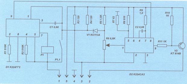 схема реле-прерывателя аварийной сигнализации и указателей поворота 23.3747 ваз 2106