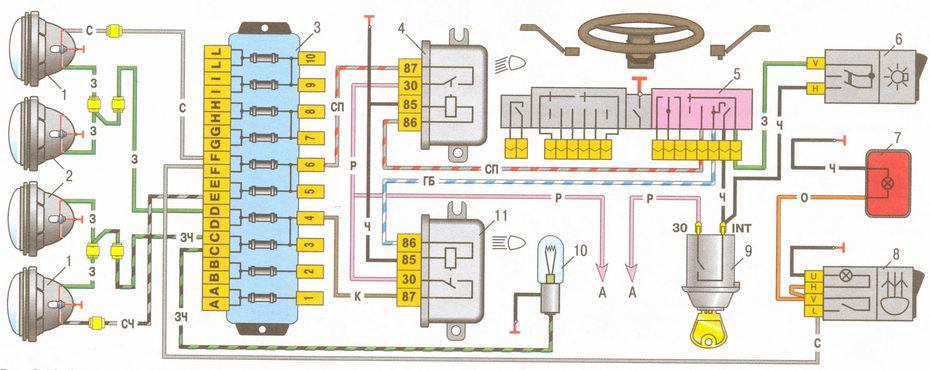 ...выключатель наружного освещения 47 5 звуковые сигналы ваз 2106 39 лампа освещения электросхема ваз 2104 схема.