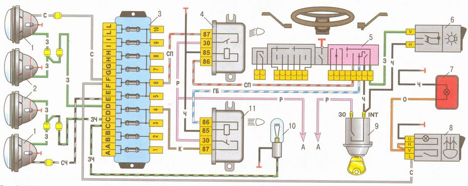 схема включения фар и заднего противотуманного фонаря на автомобилях ваз 2106