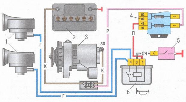 схема включения звуковых сигналов на автомобилях ваз-2106 выпуска до 1993 г.