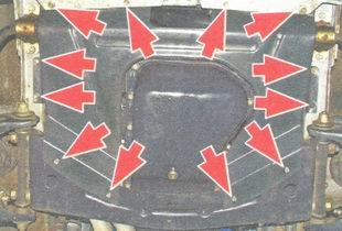 винты крепления грязезащитного щитка