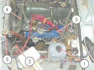 расположение пробок и шлангов системы охлаждения с левой стороны моторного отсека