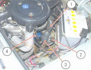расположение пробок и шлангов системы охлаждения с правой стороны моторного отсека