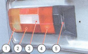 1 - указатель поворота, 2 - фонарь габаритного света, 3 - фонарь заднего хода, 4 - фонарь стоп-сигнала, 5 - фонарь освещения номерного знака