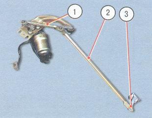 1 и 2 - тяги привода стеклоочистителя, 3 - шарнир