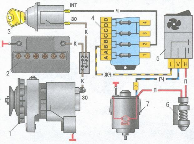Электрическая схема модуля evo-ii Схема включения электродвигателя вентилятора отопителя отопителя опубликовано в...