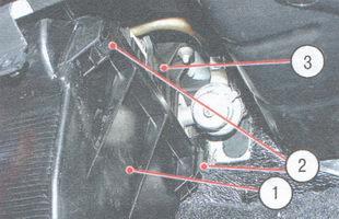 1 - кожух вентилятора, 2 -  пружинные держатели, 3 - кожух радиатора