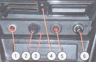 1 - сигнализатор недостаточного уровня жидкости в бачке гидропривода тормозов; 2 - выключатель освещения приборов; 3 - панель (стрелками показаны фиксаторы панели); 4 - переключатель электровентилятора отопителя; 5 - выключатель аварийной сигнализации; 6 - прикуриватель; 7 - прокладка панели