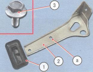 1 - уплотнитель; 2 - кронштейн; 3 - болт; а - регулировочное отверстие