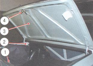 1 - фиксатор замка; 2 - петля; 3 - крышка багажника; 4 - замок