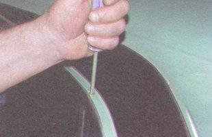 винт крепления неподвижного стекла задней двери