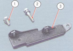 1 - нижний болт, 2 - верхний болт, 3 - успокоитель цепи