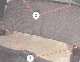 1, 2 - места крепления заднего сиденья