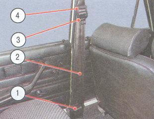 1 - инерционная катушка; 2 - ремень безопасности; 3 - защелка; 4 - петля