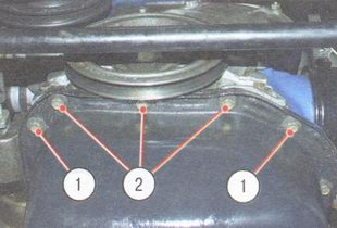 1 - болты крепления поддона к картеру двигателя, 2 - болты крепления поддона к крышке привода распредвала