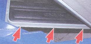 дренажные отверстия левой передней двери