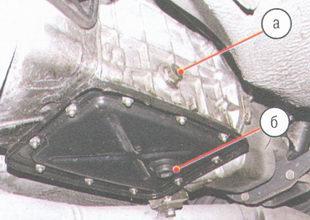 коробка передач ваз 2106 - (а) маслоналивное отверстие, (б) пробка сливного отверстия