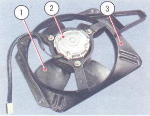 1 - вентилятор, 2 - электродвигатель, 3 - кожух