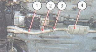 1 - приемная труба глушителей, 2 - крепление приемной трубы к коробке передач, 3 - телескопическое соединение приемной трубы с входной трубой дополнительного глушителя первой ступени, 4 - дополнительный глушитель первой ступени