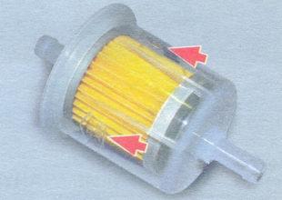 расположение стрелки на корпусе топливного фильтра