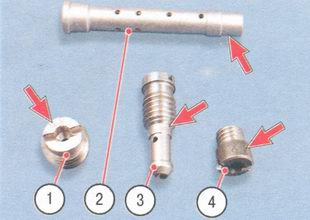 1 - главный воздушный жиклер, 2 - эмульсионная трубка, 3 - топливный жиклер, 4 - главный топливный жиклер