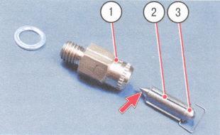 1 - седло клапана, 2 - игла клапана, 3 - демпфирующий шарик