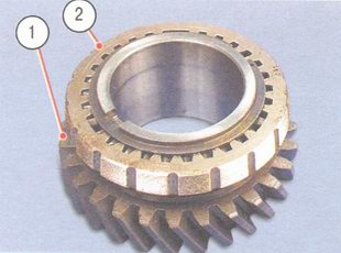 1 - шестереня, 2 - блокирующие кольцо синхронизатора